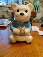 White Teddy Bear with Blue Shirt Eating a Cookie Cookie Jar