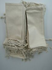 """Lot of 50 Cotton Canvas Muslin Double Drawstring 3.75"""" x 10"""" Bags Fast Shipping"""