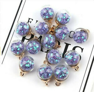 25PCs Colorful Transparent Glass Ball Star Charms FOR hair Jewelry Earring Charm