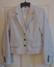 "EUC Women's ""ISAAC MIZRAHI FOR TARGET"" Gray & White Seersucker Stripe Jacket 4"