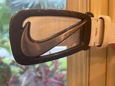 Nike Golf Mens Grip Tech White Leather Belt Size 38 Gunmetal Swoosh Logo Buckle