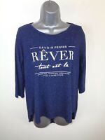 WOMENS AMISU NAVY BLUE MARL GRAPHIC LOGO 3/4 SLEEVED CREW NECK T SHIRT S SMALL