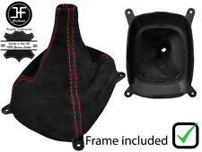 RED STITCHING SUEDE GEAR BOOT+PLASTIC FRAME FOR MITSUBISHI LANCER EVO 4 5 6