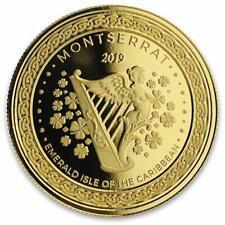 2019 1 Oz Montserrat Esmeralda Isle Harp. 9999 Ouro Moeda Bu Em Certi-Lock ® #A472
