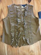 J.Crew leather ruffle front smith top in brown size 6 ***ONE OF A KIND***