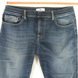 Mens 7 for All Mankind JOGGERS Slim Straight Stretch Blue Jeans W33 L32