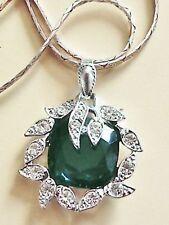 pendentif bijou vintage pierre de verre taillé émeraude cristal signé * 5277