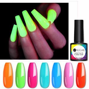 UR SUGAR Neon Gel Nail Polish Green Yellow Fluorescent Soak Off UV Gel Varnish