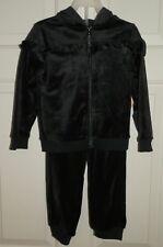 New Girls size 2T Black 2 piece Outfit Set Black Velour Jogging Suit Hood Soft