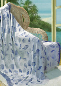 Seashells Natural Periwinkle Blue Woven Throw