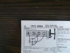 1972 Chevrolet Chevy Vega 90 HP 140 CI L4 SUN Tune Up Chart Excellent Condition!