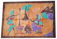 Grand Batik africain de Cote d'Ivoire femmes au village