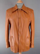VINTAGE 1970's CLASSIC REVERSIBLE TAN LEATHER/SUEDE JACKET 36 INCH