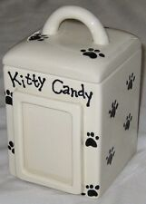 "Cat 8"" Pet Treat Pot Canister w Kitty Candy Sign w Photo Frame & Lid - 2 peice"