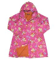 Womens Gudrun Sjoden Pink Floral Coat Jacket Hooded Snap Button Size L