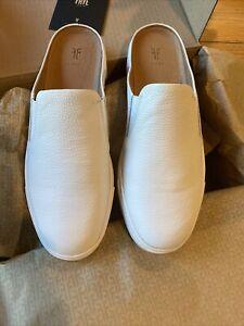 Frye Ivy Mule Slip On Sneaker White NIB Italian Leather Size 7.5M MSRP $178