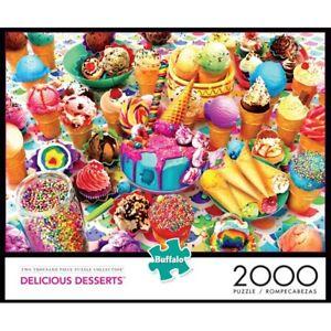 Buffalo Games Delicious Desserts 2000 Piece Jigsaw Puzzle Ice Cream Cake New