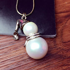 Cute Snowman White Pearl Pendant Long Necklace For Women Christmas Gifts