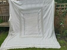 More details for antique bedspread coverlet linen 19th century crochet hand embroidery victorian