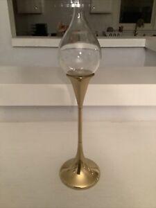 FREDDIE ANDERSEN CLEAR DROPS BRASS/GLASS OIL LAMP, No Wick, Danish MCM