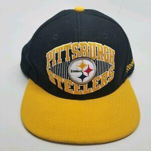 NFL Team Apparel Reebok Pittsburg Steelers Snapback Hat Black and Yellow