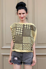 Mondi Damen Shirt Top gelb yellow braun Strick 80er True VINTAGE 80s Angorawolle