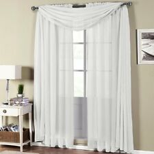 Abri Rod Pocket Crushed Sheer Curtain Panel (Single) OR Scarf 100% Polyester