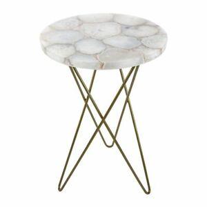"""15"""" Blanco Ágata Lado Esquina Table Top Pietradura Handmade Arte Trabajo"""