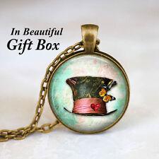 Mad Hatter Hat • Alice In Wonderland Jewelry Bronze Chain Pendant Necklace