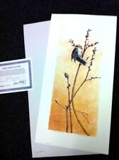"""MICHAEL DUMAS -- WILLOW WANDS--Downy Woodpecker - Ed. 38/500 <30""""  SN Lithograph"""