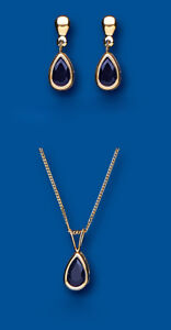 Sapphire Pendant and Drop Earrings Set Solid Yellow Gold Hallmarked