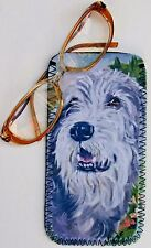 IRISH WOLFHOUND DOG GLASSES CASE POUCH  SANDRA COEN ARTIST OIL PAINTING PRINT
