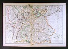 1906 Johnston Royal Atlas Map South German Empire - Bavaria Baden Hesse Germany