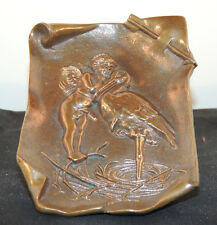 Bronze Cupid and Stork 1907 Tray over 4 inches long (9737)