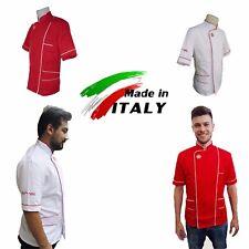 Giaccia Per Pizzaiolo Casacca Panettiere Cotone Made in Italy Bianca o Rossa