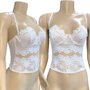 Victorias Secret Dream Angels Embroidered Floral Mesh Corset Lingerie Bra 32B