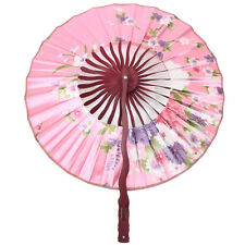 New Pink Chinese Japanese Durable Nylon Floral Round Circle Folding Hand Fans