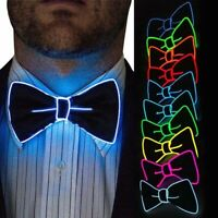 LED Light Up Mens Bow Tie Luminous Flashing Dance Party Christmas Party