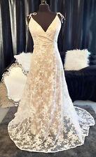 Stunning White/Latte Lace Motif Slim A-Line Wedding Dress, Boho/Beach NEW, Sz 14