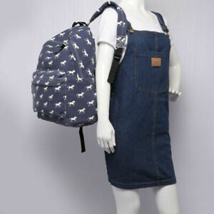 Canvas Ladies Horse Print School A4 Travel Backpack Shoulder Bag Rucksack Zip