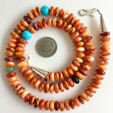 Multi-color Spiny Oyster Rounded Shell Necklace 18in Beads Sterling Silver 8mm