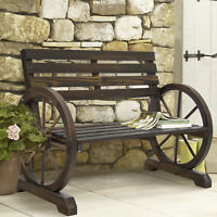 BCP Wooden Wagon Wheel Bench - Brown