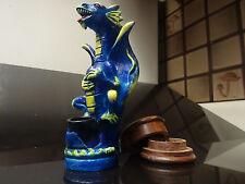 Tall Blue Dragon Ceramic Tobacco Smoking Pipe. 5 screens & Wood Grinde  2305BL+G
