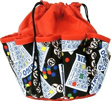 10 POCKET BINGO BAG WITH BINGO CARD PRINT #1 (RED) *MADE IN THE USA*