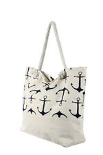 Large White and Blue Anchor Print Rope Handle Canvas Beach Bag