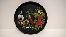 """Hand Painted 12"""" Black Round Metal Toleware Serving Tray Flowers & Parrot"""