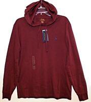 Polo Ralph Lauren Mens Dark Red Burgundy Hoodie L/S Cotton T-Shirt NWT Size M