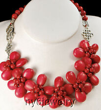 """Natural Red Coral & Red Magnesite Turquoise Flower Pendant Silver Necklace 20""""*"""