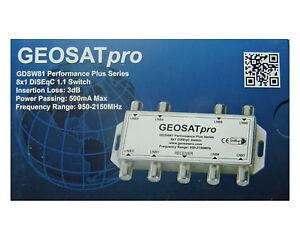 GEOSATpro 8x1 DiSEqC SWITCH Multi Switch FTA Cascadable Stackable Connect 8 LNBs