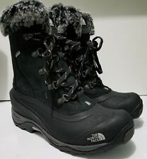 The North Face Womens Black Lace-Up Fur Lined Hiking Outdoor Boot Chilkat Size 9
